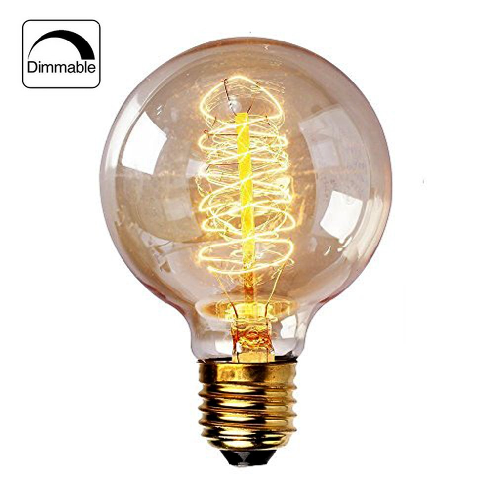 CMYK Vintage Edison Light Bulb Retro Old Fashioned Edison Style E27 Screw Bulb Dimmable Spiral Filament Lamp G80 220-240V 40W Warm White Lights for Home Light Fixtures -6 Pack