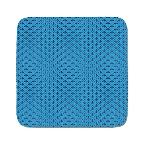 Cozy Seat Protector Pads Cushion Area Rug,Fleur De Lis,Diagonal Lines Rectangle Frames Traditional Abstract Lily Shape Monochrome,Blue Dark Blue,Easy to Use on Any Surface