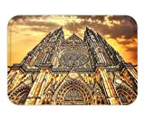 Beshowere Doormat Gothic Decor FamouCathedral European Church Catholic GiftSunset Tower Medieval Architecture Prague Picture Believe Art Christian Living Room Bedroom Dorm Decor Brown Orange.jpg