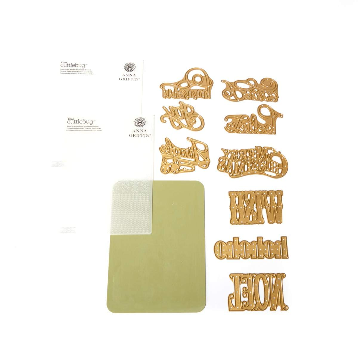 Anna Griffin Mix Match Holiday Emboss Folders Dies - Christmas Sentiments by Anna Griffin