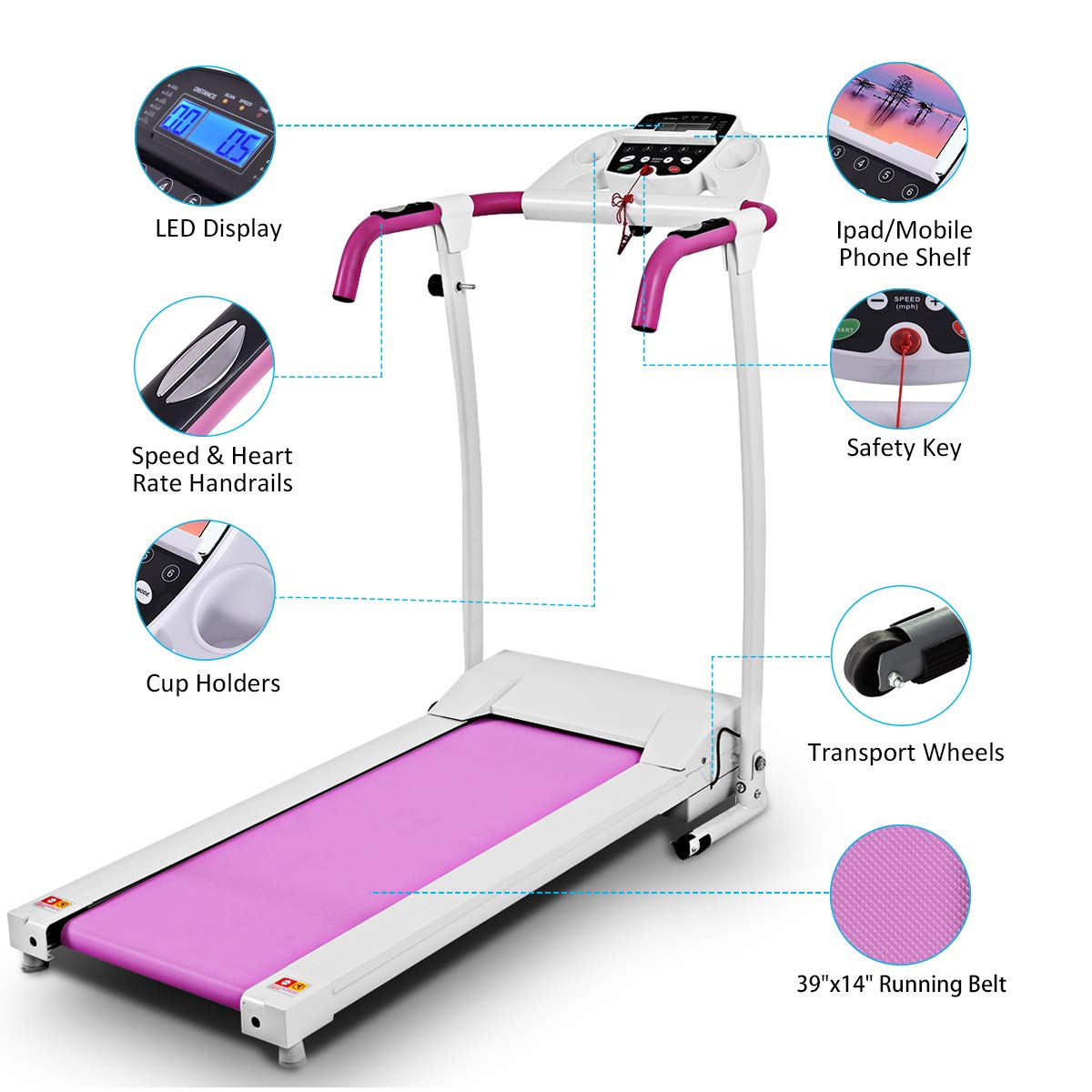 Goplus 800W Folding Treadmill Electric Motorized Power Fitness Running Machine with LED Display and Mobile Phone Holder Perfect for Home Use (Pink) by Goplus (Image #2)
