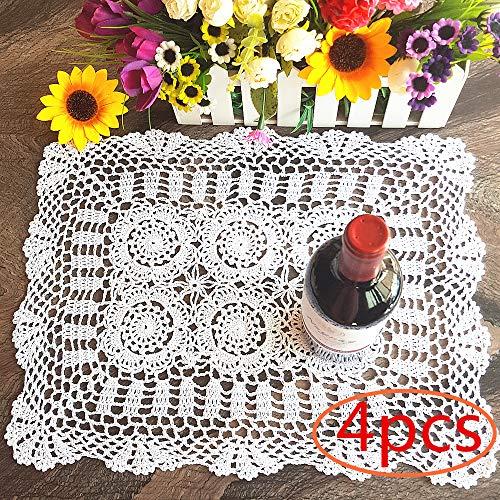 4PC Pure Handmade Rectangular Cotton Hollow Out Lace Crochet Floral Table Placemats Doilies Set Cup Pads Decoration 14x18 Inch White