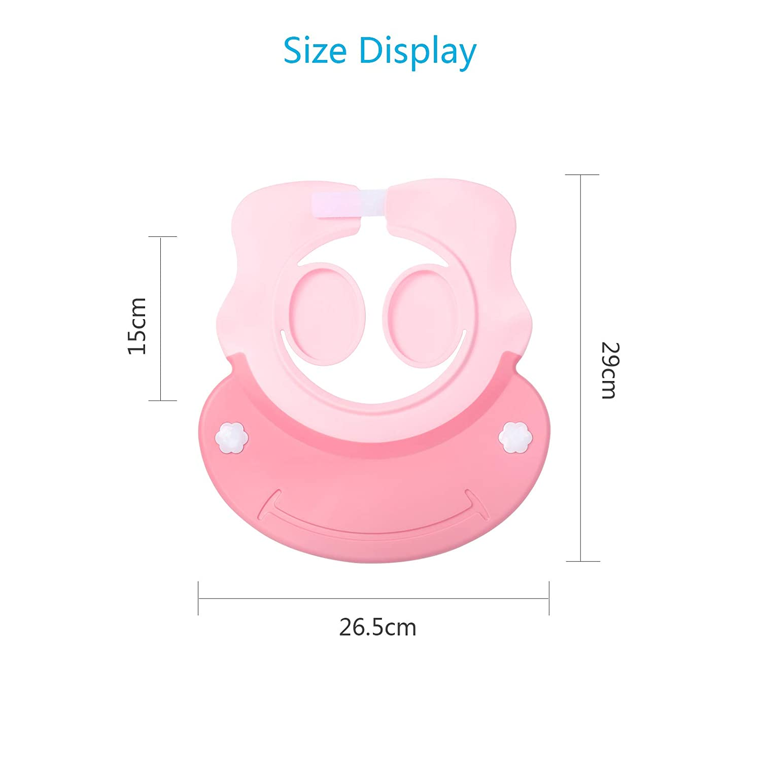 KATOOM Baby Shower Cap Shampoo Shower Cap Bathing Protector Wash Hair Shield Adjustable Visor Hat with Ear Protection for Toddler Kids Children Blue