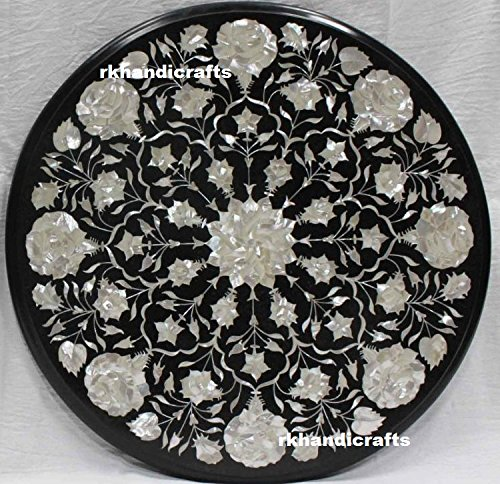 rkhandicrafts End Table Top 18'' Round Black Marble Mother of Pearl Semi Precious Stone Inlay Floral Design 18' Mother Of Pearl