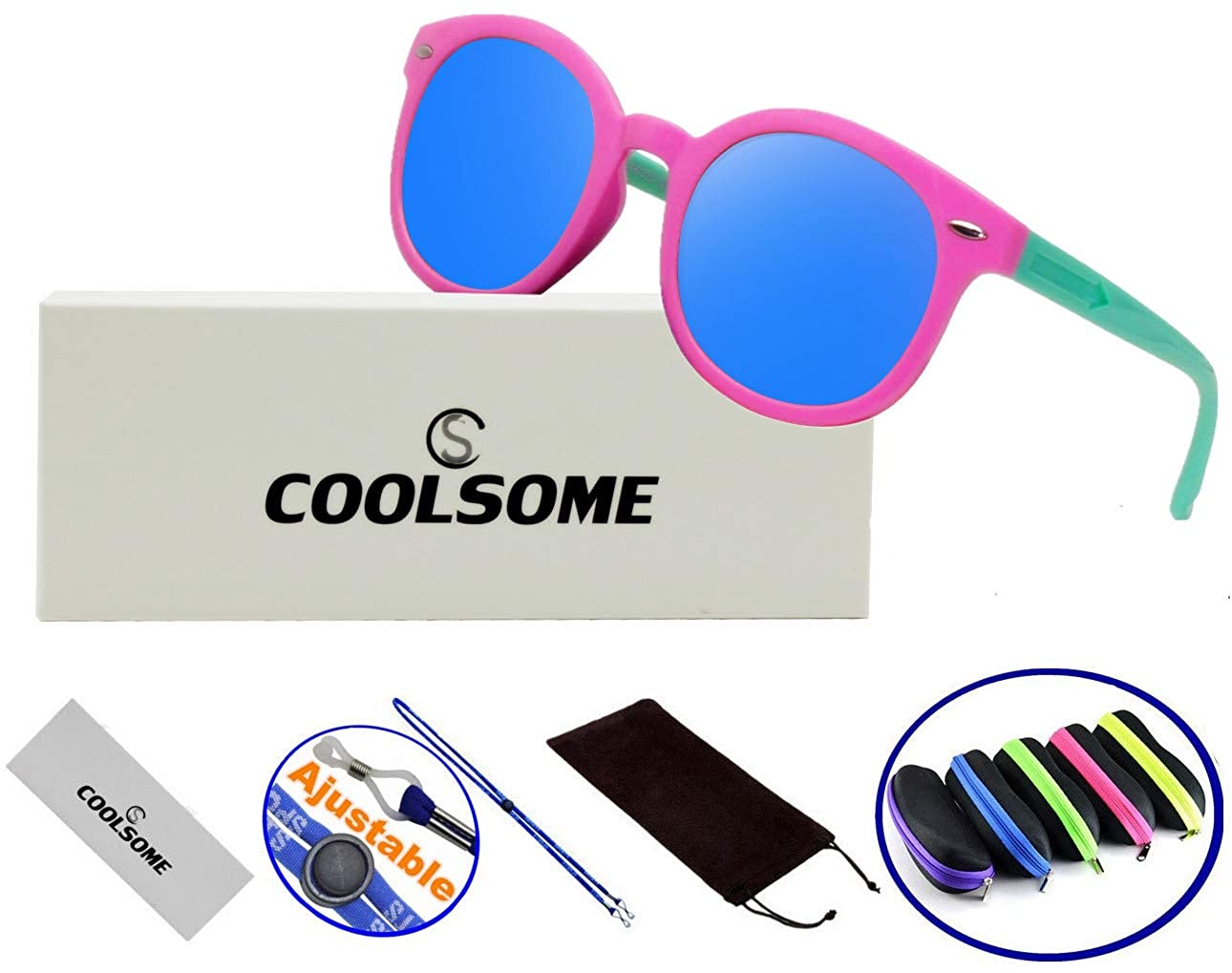 Kids Boys Girls Rubber Flexible Polarized Sunglasses Age 3-10 Yrs With Case & Strap (Mirrored Blue) 402212511