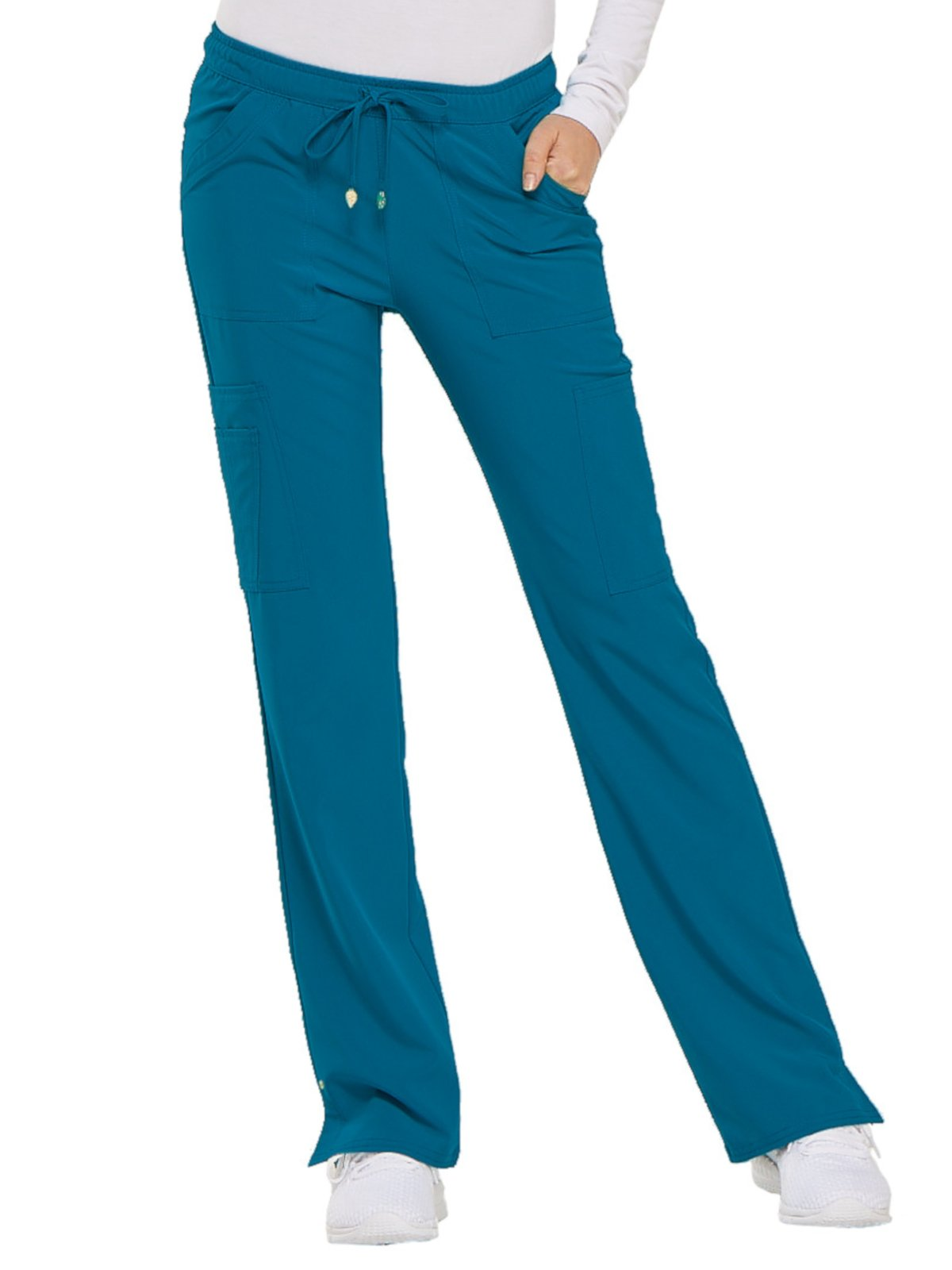 HeartSoul Love Always Women's Charmed Low Rise Drawstring Cargo Scrub Pant Small Petite Caribbean Blue