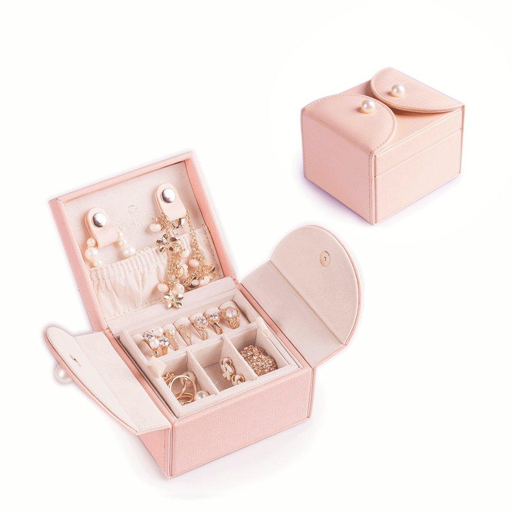 Vlando Akoya Two Tray Small Jewlery Box, Daily Wearing Jewelries Organizer, Travel Accessories -Pink