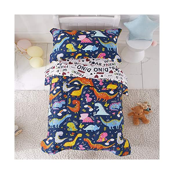 Joyreap 4 Piece Toddler Bedding Set, Standard Size Colorful Dinosaur Printed on Navy, Includes Quilted Comforter, Fitted Sheet, Top Sheet, and Pillow Case for Boys n Girls 1
