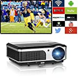 WiFi projector Portable 2600 Lumens Home Theater 1080p HD LCD Display HDMI USB VGA AV, Video Projector Android for Game Movie Party TV Compatible with iphone Phone ipad PC Outdoor Indoor