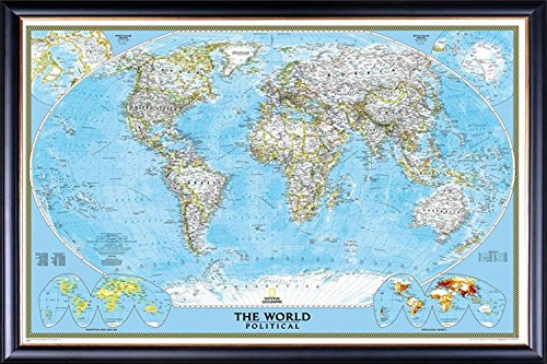 FRAMED National Geographic Political World Map 24x36 Dry Mou