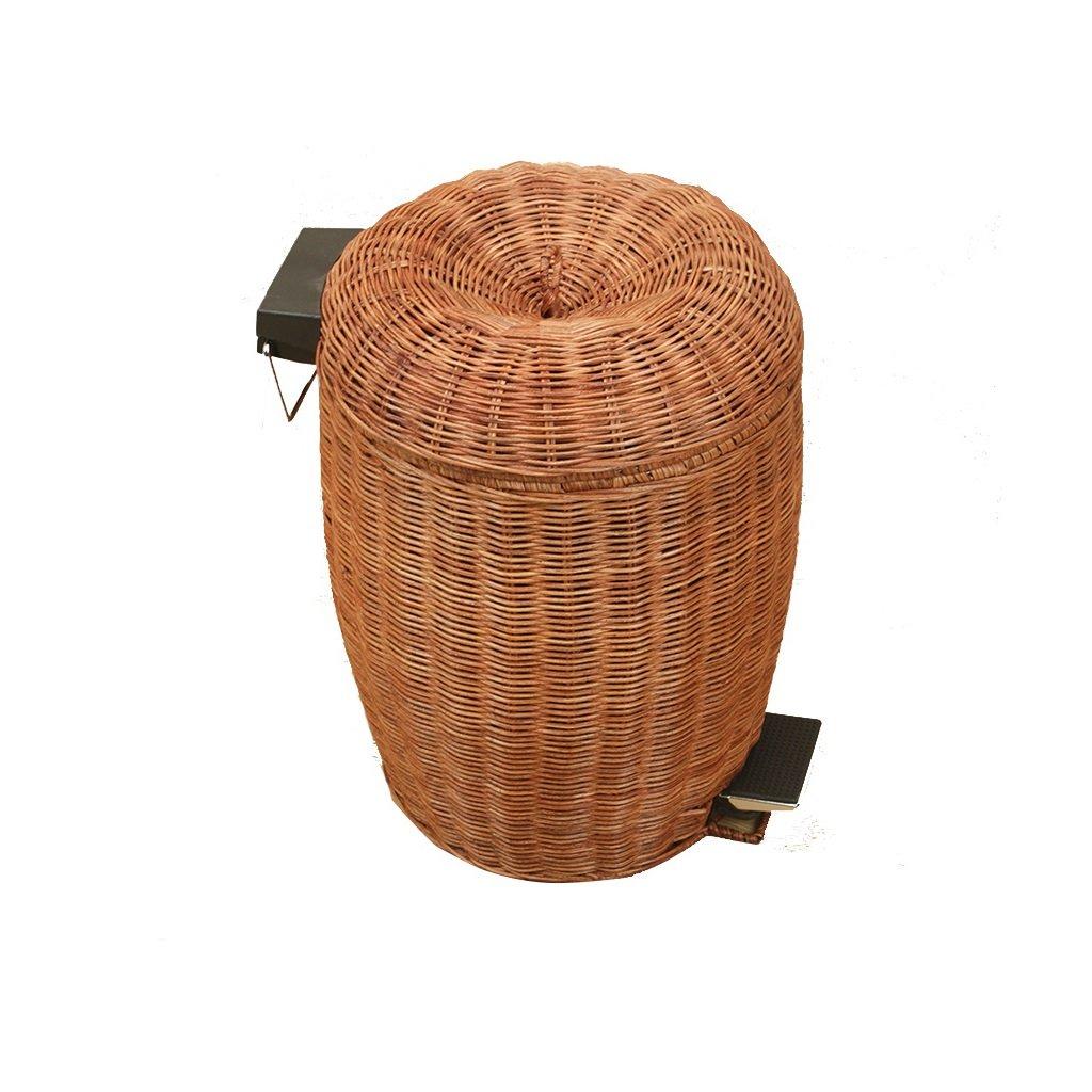 Jiu Xiu Bote de Basura -Rattan Productos Bote de Basura Hecho a Mano hogar Sala de Estar baño Creativo con Tapa Pedal Basura ^^ (Tamaño : 3L)