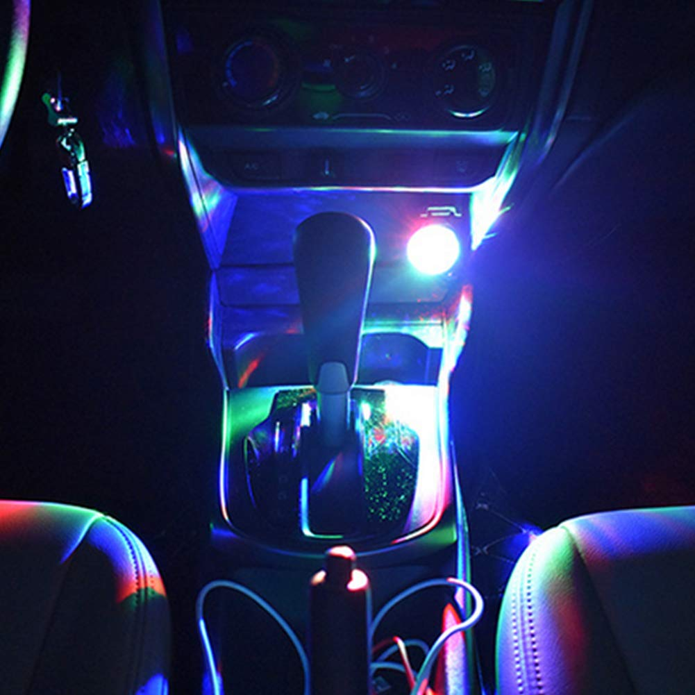 Newin Star 2pcs LED Car Light Controllo vocale USB LED Mini Wireless Car Interior Lighting Kit Car Styling Decorazione dinterni Atmosfera Luce in 7 Colori Mini D6 Style con Spina USB
