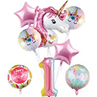 "Unicorn Balloons Party Supplies - Pack of 8, 43""Pink Unicorn Mylar Balloon for 1st Birthday Balloon Bouquet Decorations, Baby Shower, Home Office Decor, Birthday Backdrop"