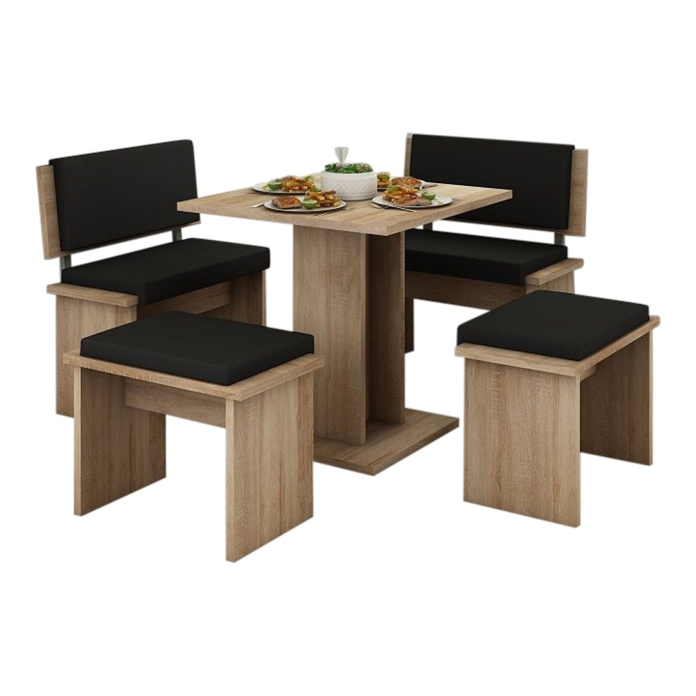 MEBLE FURNITURE & RUGS 5 Pc Breakfast Kitchen Nook Table Set, Bench Seating, Oak with Black