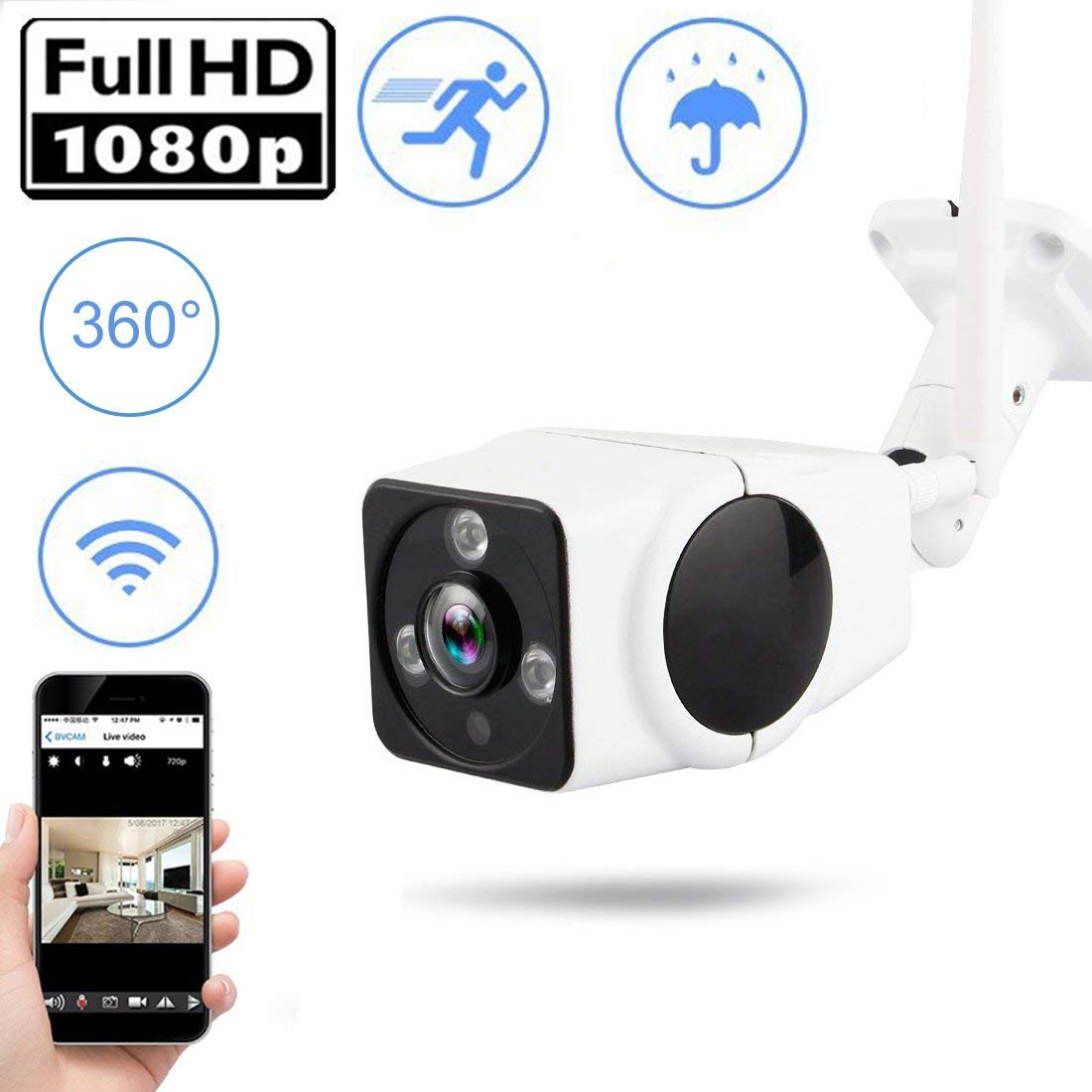 Wifi Bullet IP Camera 1080P POE CCTV Waterproof IP66 Security Camera Night Vision Motion Detection for Home Surveillance Support SD Card Father Day by ONMet