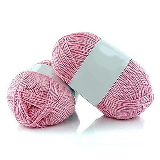beiguoxia 1 rollo 50 G de lana algodón Crochet de bambú para tejer suave hilo, 6 Pink, talla única: Amazon.es: Hogar