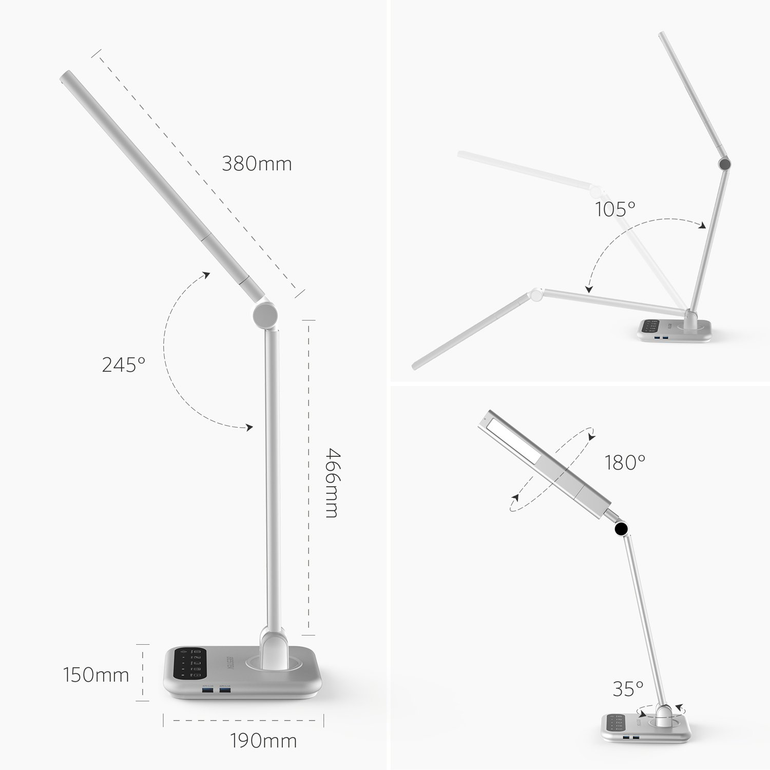 Dimmable LED Desk Lamp, BESTEK LED Table Lamp with Detachable Lamp Head, Foldable and Arm,Touch -Sensitive Control,5V/2.4A USB Chargering Port, 4 Lighting Modes, 1-Hour Auto Timer, Memory Function