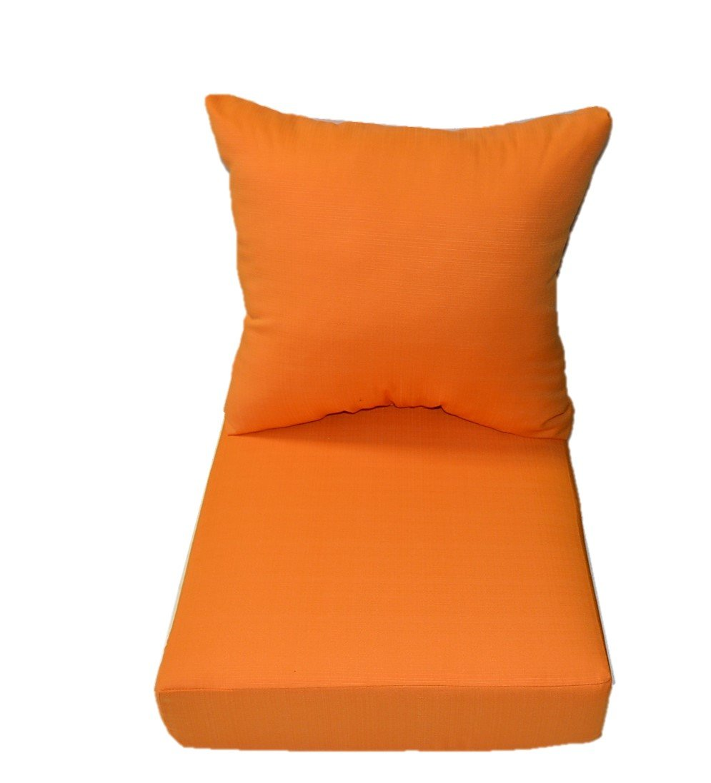 Woven Twill Mojo Creamsicle Orange Fabric - Cushions for Patio Outdoor Deep Seating Furniture Chair - Choice of Size (SEAT CUSHION - 22'' W X 22'' D)