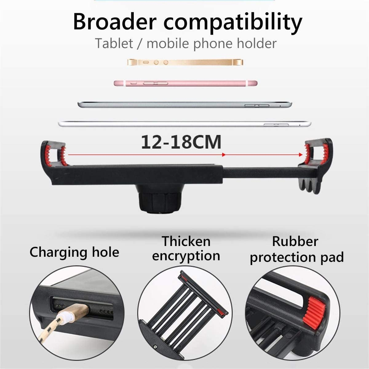 Color : Black YYJHT 360 Rotating Flexible Long Arms Mobile Phone Holder for iPhone Xiaomi Desktop Bed Lazy Bracket Phone Stand Metal Clamp Support