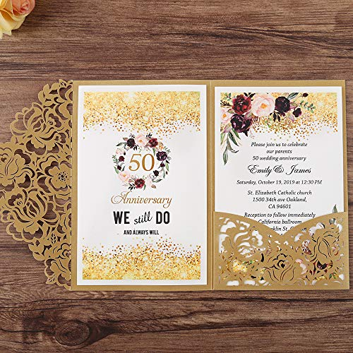 (Doris Home 50 Wedding Anniversary Invitation wedding invitations with envelopes for Bridal Shower Invitations, Dinner Invitations, CW0008 (Gold, 50pcs Blank))