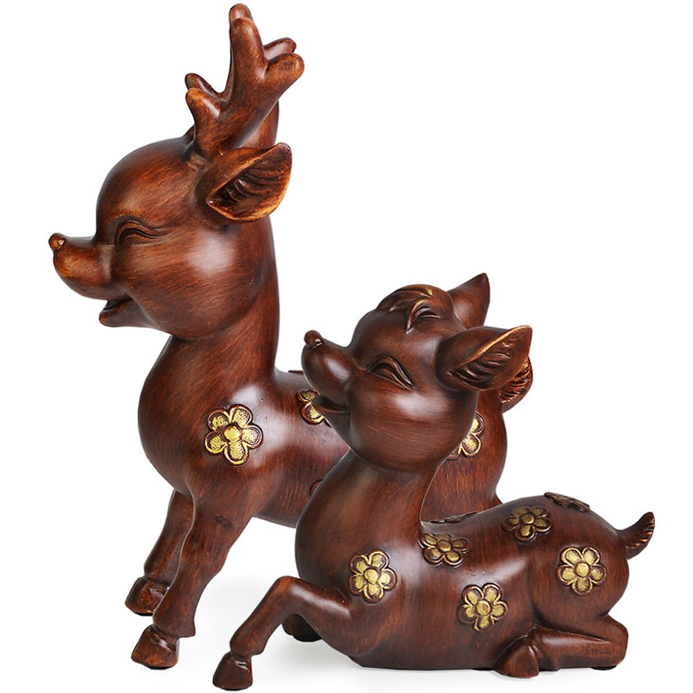 KMYX Deer Decoration Fashion Ideas Auspicious Gifts Cute Children Room Decoration Imitation Wood Color Resin Crafts Ornaments for Living Room Wine Cooler Restaurant Office