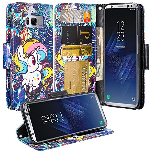 GALAXY WIRELESS for Galaxy S8 Case, Samsung Galaxy S8 Wallet Case, Wrist Strap Flip Folio [Kickstand Feature] Pu Leather Wallet Case with ID&Credit Card Slot For Galaxy S8 Phone Case - Rainbow Unicorn
