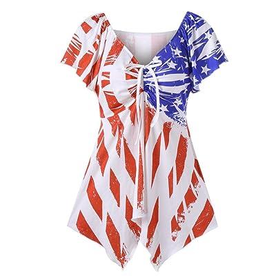 ????Vovotrade???? Womens T-Shirt Mixed Color National Flag Print Bowknot V-Neck Tops Shirt Blouse