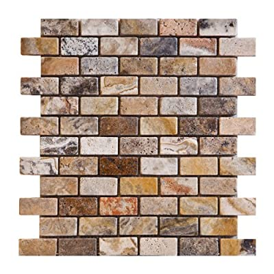 1x2 Scabos HONED and Unfilled Travertine Brick Mosaic Tile - Box of 5 Sheets