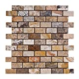1x2 Scabos HONED and Unfilled Travertine Brick Mosaic Tile - Lot of 50 Sheets