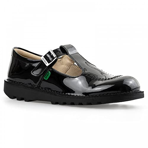 62499ff4b1 GIRLS TODDLERS KICKERS KICK T BAR BLACK PATENT LEATHER SHOES SCHOOL 1-12531  (23