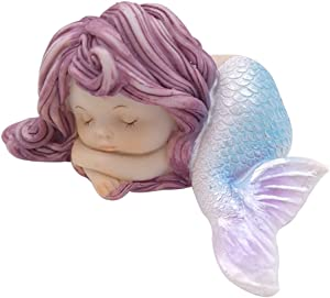 LSHCX Resin Sleeping Little Mermaid Statue for Miniature Fairy Garden and Aquarium Decorations
