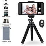 iPhone Tripod Phone Tripod,Lightweight Small Portable and Adjustable Camera Stand Holder with Bluetooth Remote and Universal Clip for iPhone, Android Phone, Camera and GoPro