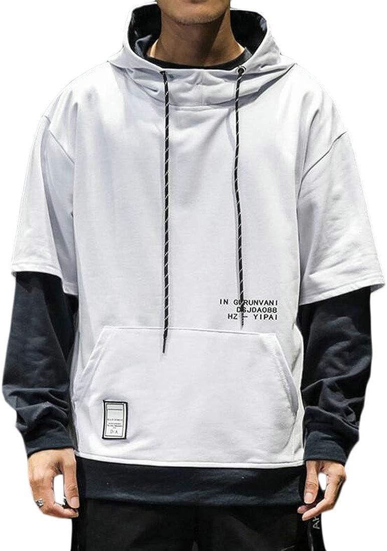Cromoncent Men Drawstring Fake Two Pocket Hoody Pullover Hooded Sweatshirts