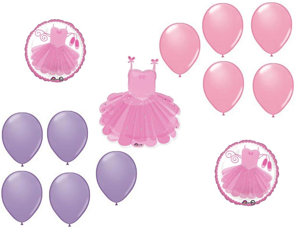 LoonBalloon BALLET Slippers DANCE Ballerina Recital 13 Piece Mylar and Latex Balloons Set