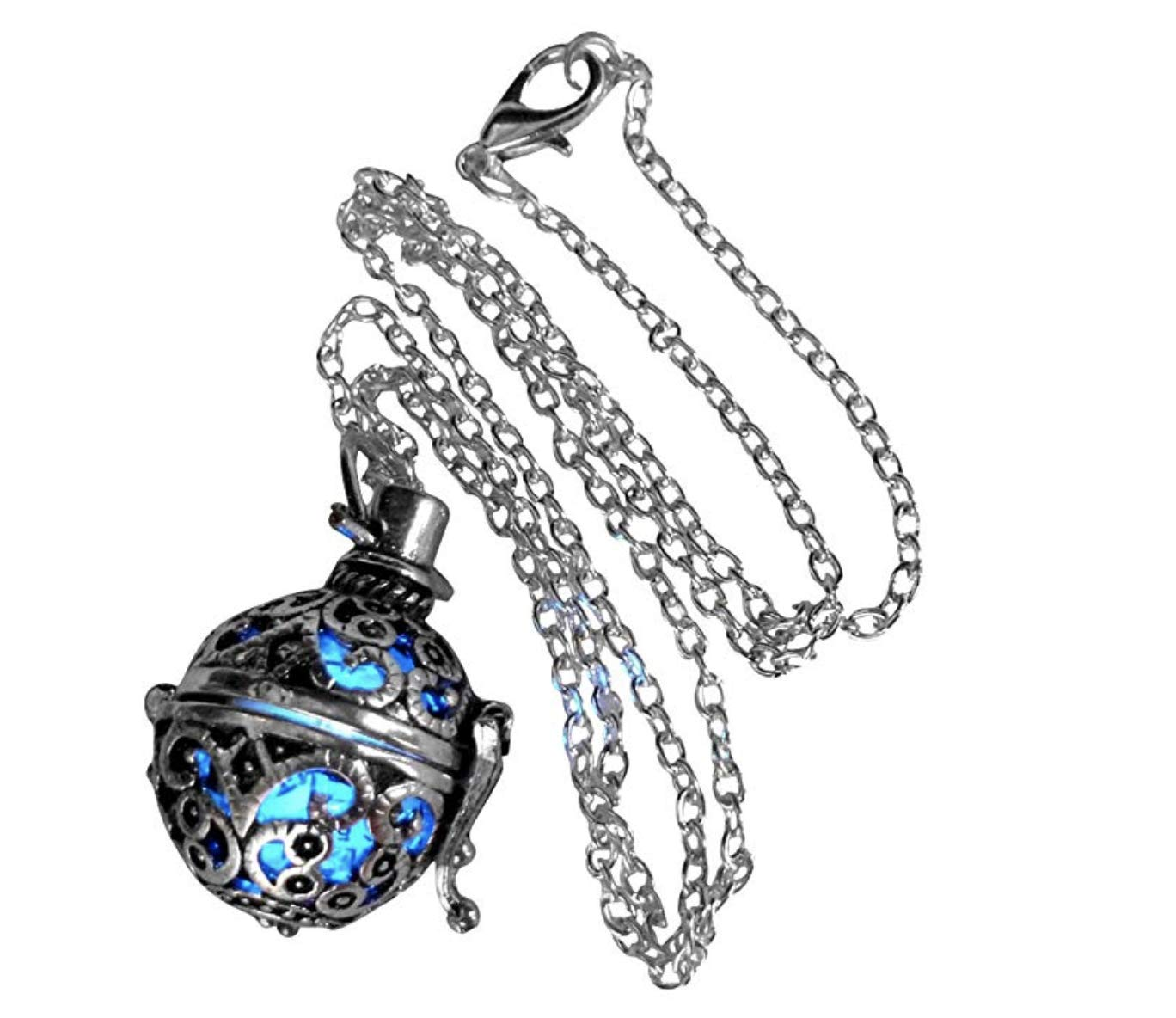UMBRELLALABORATORY Steampunk FIRE necklace - pendant Glow locket - GREAT GIFTS for teen girls, Mother, Father, little girls jewelry-silver Blue