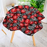 aolankaili Spillproof Polyester Fabric Round Tablecloth-Sports College Football Helmets Headgear Competition Defense Sportsman Elegant Printed Table Cloth 55'' Round