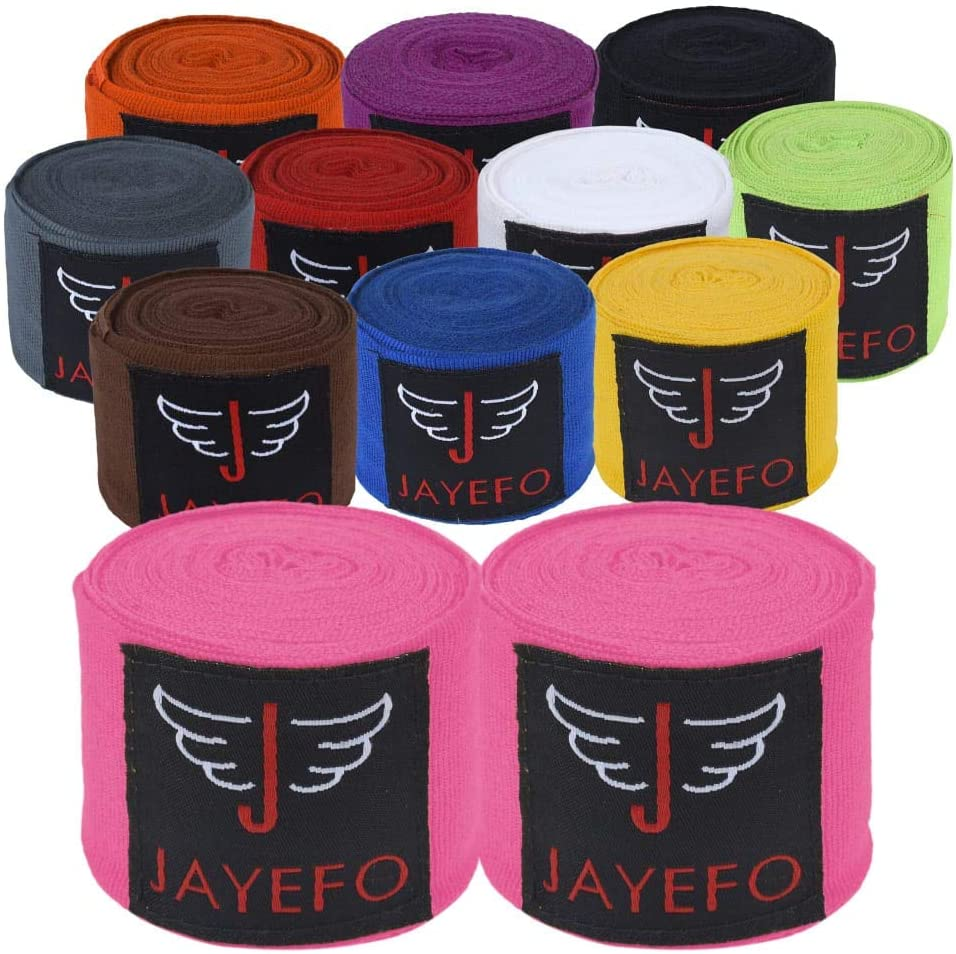 Jayefo Pair Boxing MMA HANDWRAPS 180 INCHES 4.5 Meters Official Muay Thai Kickboxing Fish Wrist Knuckle Professional Men Women- 2 Years Warranty (Pink) : Sports & Outdoors