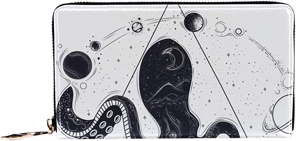 Womens Zip Around Wallet and Phone Clutch,Octopus And Cosmic Planets Print,Travel Purse Leather Clutch Bag Card Holder Organizer Wristlets Wallets