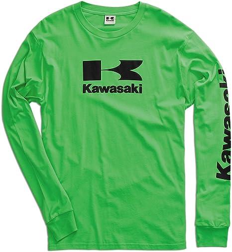 Kawasaki Stacked Logo Manga Larga Camiseta – Verde – Grande: Amazon.es: Coche y moto