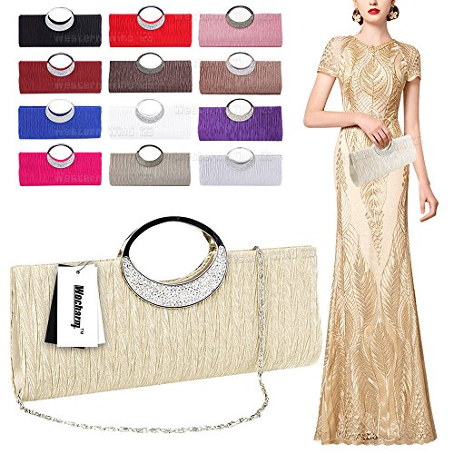 Rhinestone Deep Clutch Evening Satin Party Handbag Clutch Wedding Evening Coffee Handle Pleated Top Wocharm Purse qACgw