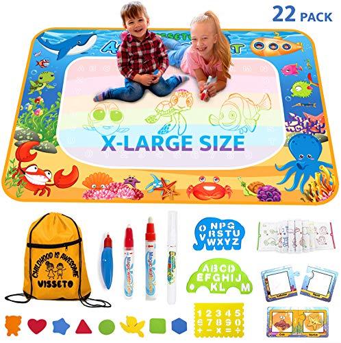 VISSETO X-Large Aqua Magic Mat 40x28'' | Kids Educational Toys Aqua Mat | Kids Painting Reusable Water Drawing Doodle Mat | Aquadoodle Mat Gift for Girls, Boys ()