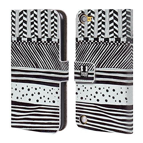 Head Case Designs Mix Orizzontale Doodle Pattern Bianchi E Neri Cover a portafoglio in pelle per iPod Touch 5th Gen / 6th Gen