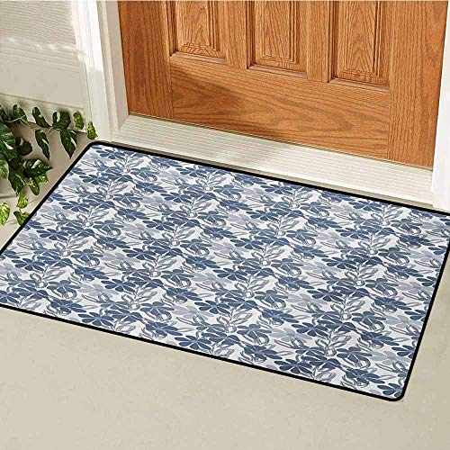 GUUVOR Floral Front Door mat Carpet Abstract Hand Drawn Spring Season Blooms in Pastel Colors with Leaves Machine Washable Door mat W29.5 x L39.4 Inch Pale Grey Slate Blue (Terrier Welcome Slate)