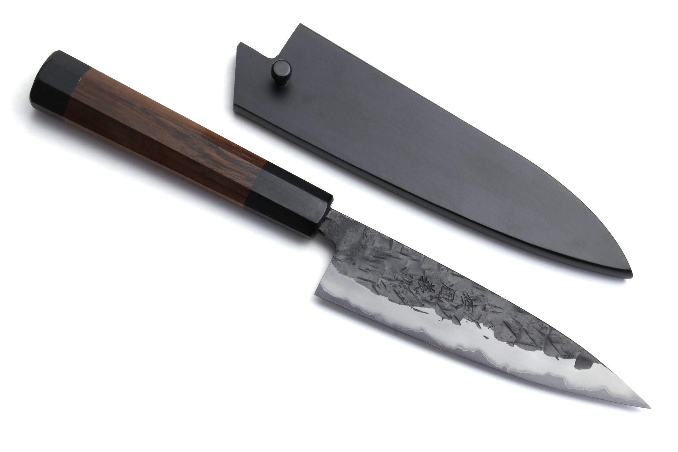 Yoshihiro Nashiji Kurouchi Blue Steel #2 Stainless Clad Petty Utility Knife (5.3'' (135mm)) by Yoshihiro