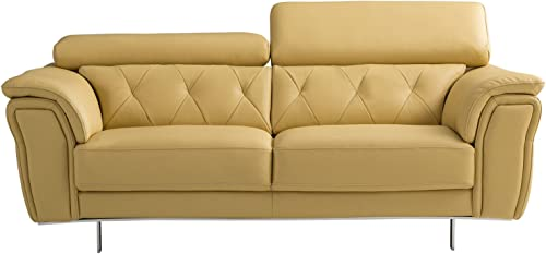 American Eagle Furniture Winfield Modern Italian Leather Living Room Loveseat