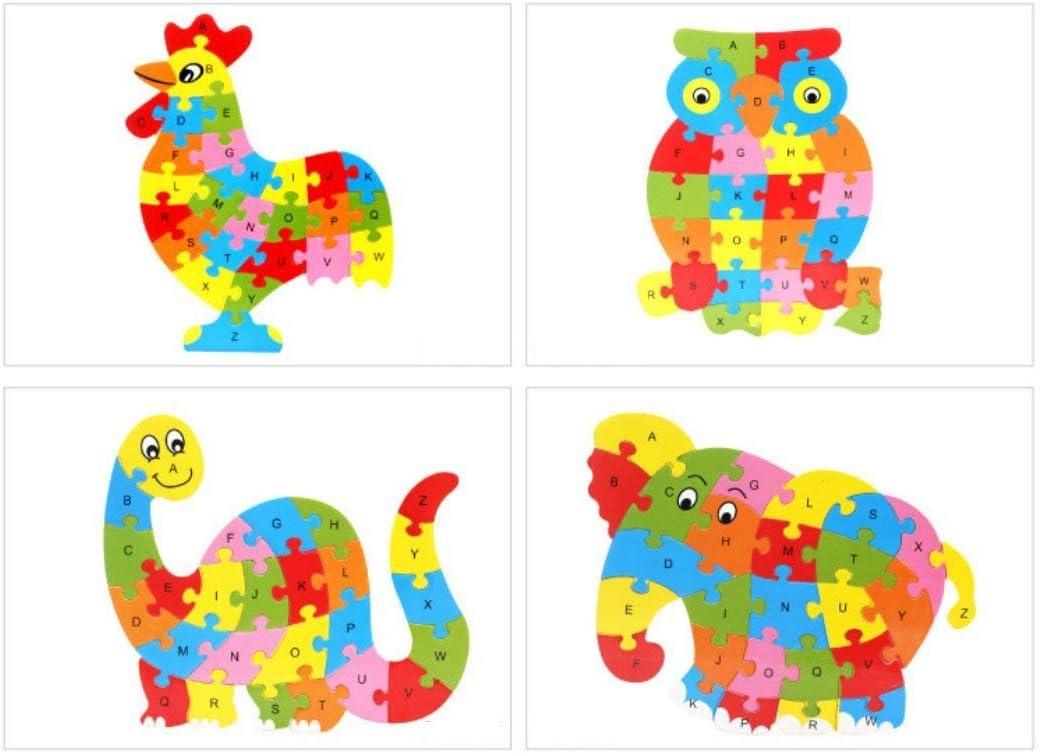 Ogquaton 26 pcs En Bois Alphabet Anglais Lettres Puzzle Jouet /Éducatif Cadeau Pr/ésent Dinosau pour Enfants Rentable et De Bonne Qualit/é