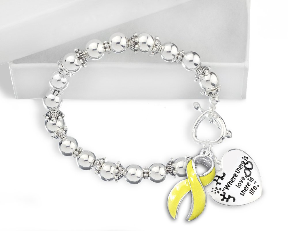 Spina Bifida Awareness ''Where There is Love'' Heart and Yellow Ribbon Charm Silver Beaded Bracelet with Gift Box (1 Bracelet - Retail)