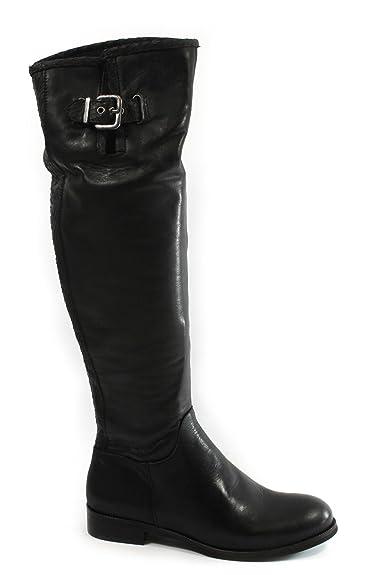 16100 Femme Noire Bottes Tubulaire Charnière En Follie Divine Cuir ROwAyq4f5x