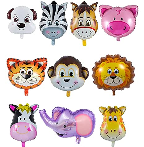 Anniversaire Animaux.Qimmu 10 Pieces Ballon Anniversaire Ballon Helium Aluminium Helium Pour Ballon Ballon Enfant Animaux Decoration Anniversaire Ballon Animaux