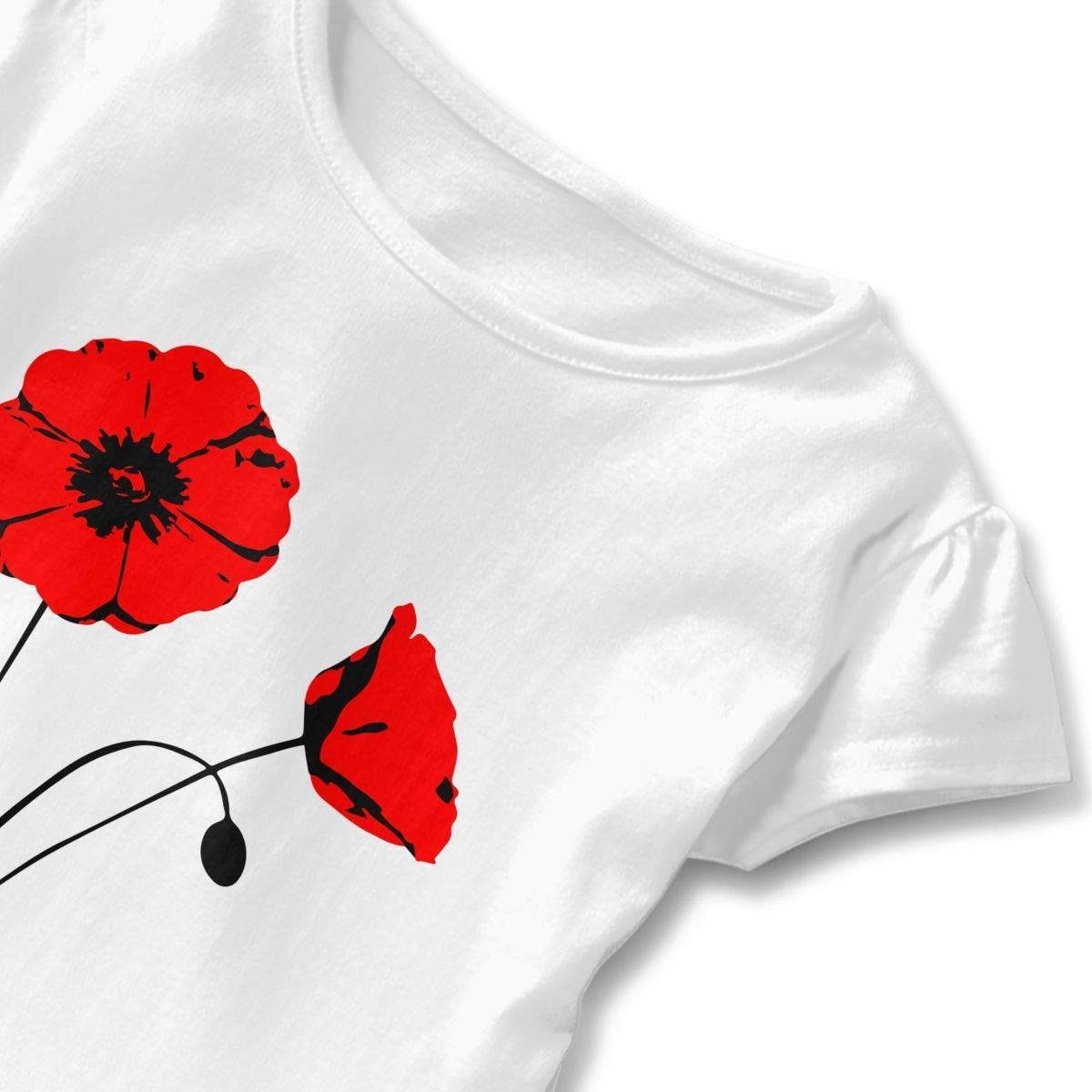 lu fangfangc Girls Short Sleeve Poppy Flower T-Shirts Fashion Blouse Clothes with Flounces 2-6T